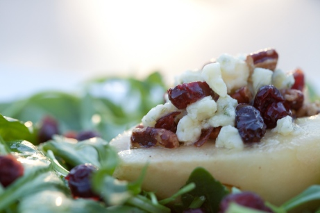 Savory Gorgonzola, dried cranberries, and pecans smothered in a light, lemony dressing