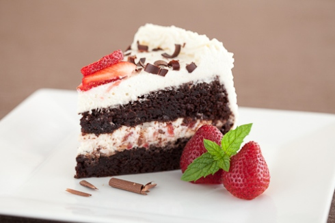 double chocolate layer cake with strawberries